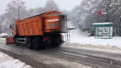 Bartın'da kar yağışının ardından araçlar yolda kaldı