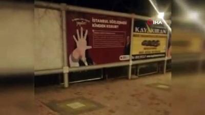 """Billboardlara asılan """"İstanbul Sözleşmesi Kimden Korur"""" afişine tepki"""