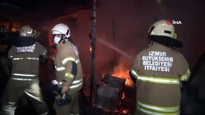 yangina mudahale -  İzmir'de kamyon bakım istasyonunda yangın paniği