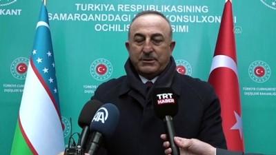 baskent - SEMERKAND - Dışişleri Bakanı Çavuşoğlu, Özbekistan'da gazetecilerin sorularını yanıtladı (1)