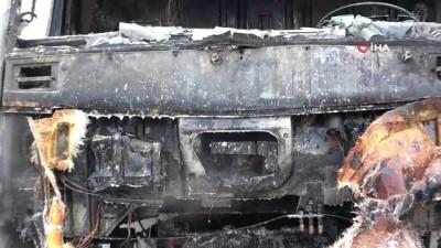 market -  Markete mal sevkiyatı yapan kamyon yanarak küle döndü