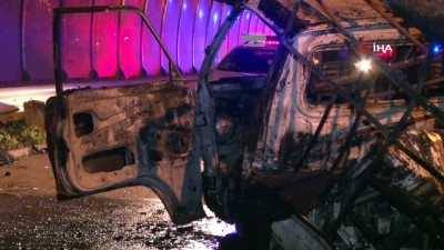 direksiyon -  Otomobilin çarptığı kamyonet alev aldı: 1'i ağır 2 yaralı