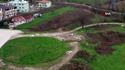 Lastik yakan çocuklar drone'u görünce arkalarına bakmadan kaçtılar