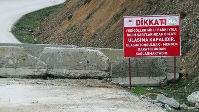 Yedigöller Milli Parkı yolu 4 aydır kapalı