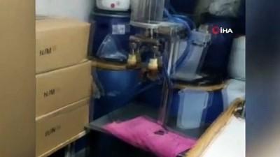 imalathane -  İstanbul'da kaçak parfüm imalathanesine baskın kamerada