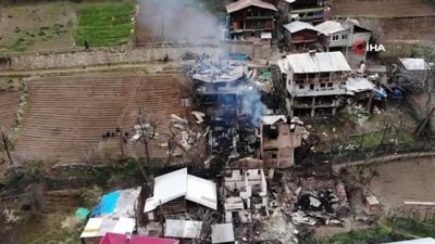 ARTVİN-ÖZEL-DRONE-EK) Artvin'de yangının boyutu gün ağarınca ortaya çıktı