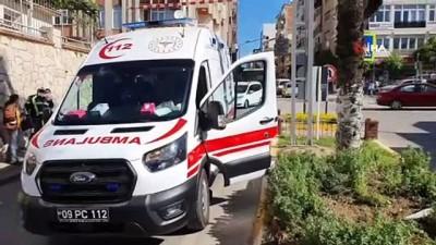 Nazilli'de motosiklet yayaya çarptı: 2 yaralı