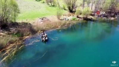 Göletteki kaçak avlanmayı drone ile tespit ettiler