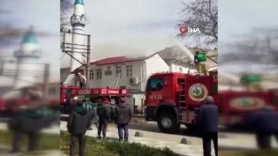 Tekirdağ'da cami çatısı alev alev yandı