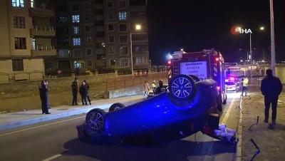 Takla atan araçtan burnu bile kanamadan çıktı, dakikalarca ters dönen aracını izledi