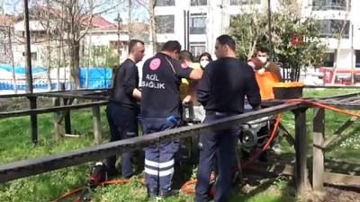 guvenlik onlemi -  Parkta ayağı demirlerin arasına sıkışan çocuğu itfaiye kurtardı