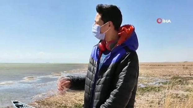lodos -  Beyşehir Gölü'nün yüzeyi çamur rengine dönüştü