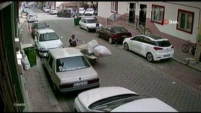 Elinden kaçırdığı arabanın peşinden koştu ama kazaya engel olamadı...Kaza anı kamerada