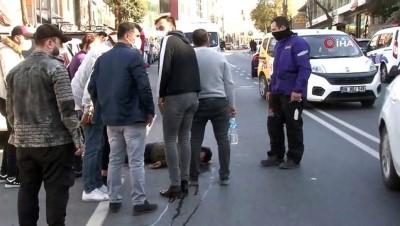 agir yarali -  Kağıthane'de aracın çarptığı motosikletli genç ağır yaralandı...O anlar kamerada