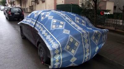 saganak yagis -  Meteorolojinin uyarısının ardından halı, battaniye ve kartonlu 'dolu' önlemi