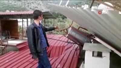 Kozan'da hortum eve zarar verdi