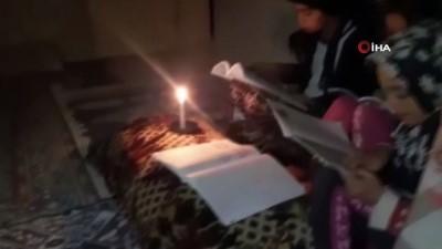 Yeşilli Belediyesi'nin elektriğini kestiği evde mum ışığında ders çalışan kız: 'Bize sahip çıkın'