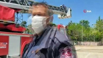 Baygınlık geçiren işçi 30 metrelik baz istasyonunda mahsur kaldı