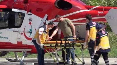 ambulans helikopter -  Ormanda kestiği ağaç üzerine düşen şahıs ambulans helikopterle hastaneye yetiştirildi