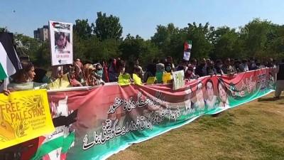 parlamento - İSLAMABAD - İsrail'in Filistin'e yönelik saldırıları Pakistan'da protesto edildi