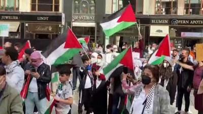 VİYANA - Polisin yasaklamasına rağmen İsrail'in Filistin'e yönelik saldırıları protesto edildi