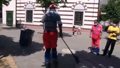 temizlik iscisi -  Patenli temizlik işçisi ilçede ilgi odağı oldu