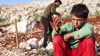 yasam mucadelesi - İDLİB - İdlibli küçük İbrahim, ağabeyiyle taş kırarak ailesini geçindirmeye çalışıyor (1)