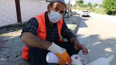 temizlik iscisi - BOLU - Peşinden ayrılmayan oğlağıyla cadde ve sokakları temizliyor