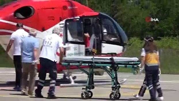 ambulans helikopter -  Kafasına kamyonetin arka kapağı düşen kadın ambulans helikopterle hastaneye kaldırıldı