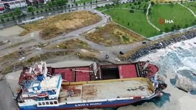 Kartal'da halatı kopması sonucu başka bir gemiye çarpan gemi, drone ile havadan görüntülendi.