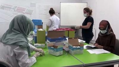 erimli - AĞRI -  Tekstilkent'te mobil ekipler Kovid-19 aşısı uygulamasına başladı