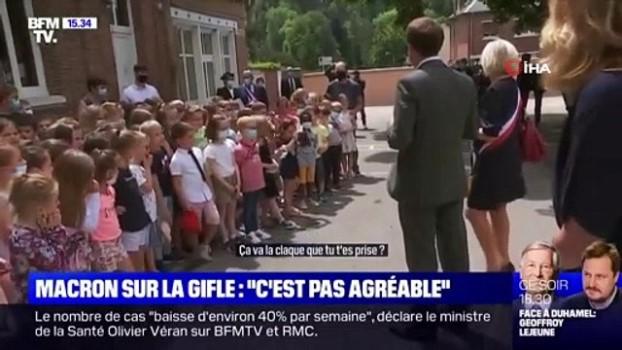 ilkokul ogrencisi -  - Fransa'da ilkokul öğrencisinden Macron'a: 'Yediğin tokat nasıldı?'