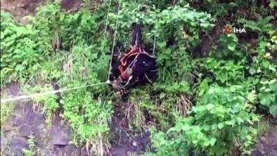 parmak -  Mahsur kalan inekleri AFAD ve itfaiye ekipleri kurtardı