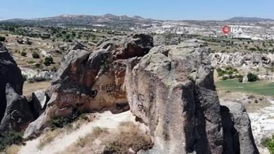 borat -  İHA gündeme getirdi, Kapadokya'da peribacaları sprey boyalardan temizlendi