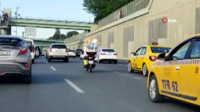 goreme -  Motosikletine fazla yük atan sürücüsü hem kendini hem trafiği tehlikeye attı