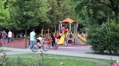 BOLU - Tekvandocu çocuklar antrenmanlarını parkta yapıyor