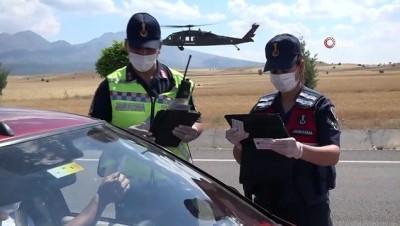 koy yollari -  Jandarmadan bayram öncesi helikopter destekli trafik denetimi