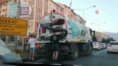 tehlikeli yolculuk -  Erzurum'da patencilerin tehlikeli yolculuğu