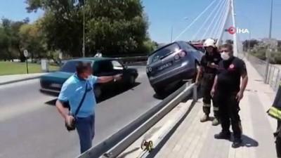 alkol -  Lastiği patlayan otomobil bariyer üzerinde 40 metre gittikten sonra durabildi Videosu