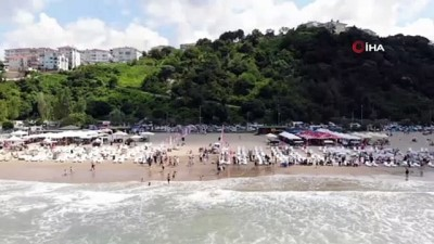 yuzme -  Şile'de denize girme yasağına rağmen plajlar doldu taştı