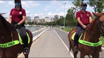 atli polis - İSTANBUL - Atlı polislerden Caddebostan Sahili'nde koronavirüs denetimi