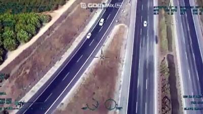 ADANA - Otoyolda 2 aracın ters yönde ilerlemesi helikopter kamerasına yansıdı