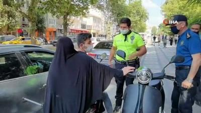 Uygulamada durdurulan motosikletteki yaralı kadını polis evine bıraktı