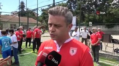 futbol maci -  Samsun'da telafi eğitimlerine başladı, açılışta minikler müdürlerle maç yaptı