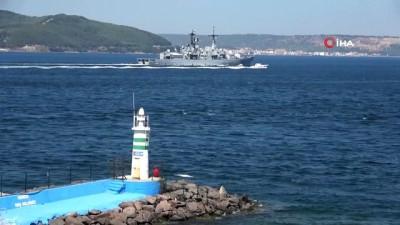 sahil guvenlik -  İtalya savaş gemisi Çanakkale Boğazı'ndan geçti