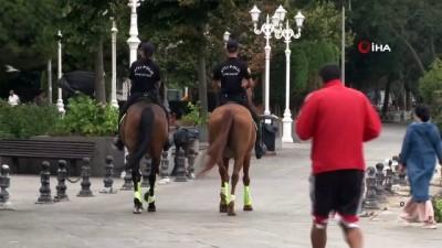atli polis -  Sarıyer'de atlı polislerden korona virüs denetimi