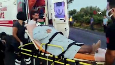 motosiklet surucusu -  Motosiklet ticari araca çarptı, olay yerine gelenler sinir krizleri geçirdi