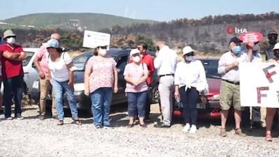 orman yanginlari -  Foça'da 'cüruf depolama alanının' kaldırılması için eylem yaptılar