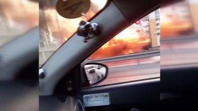 Esenyurt TEM bağlantı yolunda kamyon alev alev yandı