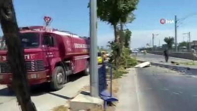 elektrik diregi -  Kontrolden çıkan kamyon ortalığı savaş alanına çevirdi